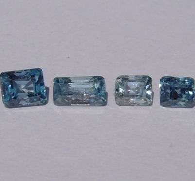 Natural Blue Zircon 4 stones 0.50-0.65-0.75-0.88 ct.